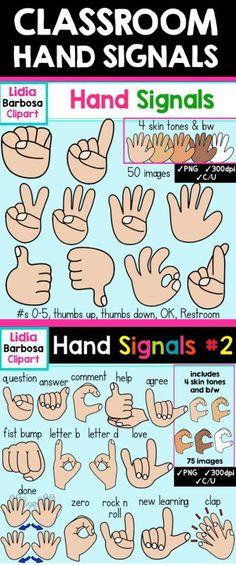 Classroom Hand Signals Clipart. GREAT FOR MAKING CLASSROOM VISUALS!