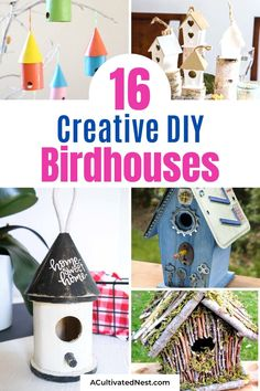 16 DIY Birdhouse Projects- If you want a fun décor piece for inside your home, or want to attract more birds outside, you'll love these DIY birdhouse projects! This great collection of homemade birdhouses includes both kids crafts and more sophisticated DIY projects! | #birdhouse #diyProjects #craft #kidsCrafts #ACultivatedNest Wine Cork Birdhouse, Birdhouse Craft, Birdhouses, Home Crafts, Crafts For Kids, Woodworking Projects, Diy Projects, Bird House Kits, Bird Houses Diy