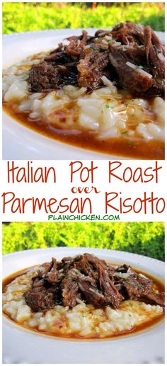 Italian Pot Roast over Parmesan Risotto - THE BEST post roast! Pot Roast slow cooked all day in tomato juice, italian seasoning and au jus mix. Serve over a quick homemade parmesan risotto. I literally licked my plate! --- Used risotto recipe Meat Recipes, Slow Cooker Recipes, Crockpot Recipes, Cooking Recipes, Kale Recipes, Cooking Tips, Chicken Recipes, Pot Roast Recipes, Parmesan Risotto