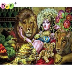 New 3d Diamond painting Cross Stitch lion queen Embroidery Mosaic pattern Rhinestones kits crafts square full dill home decor #Affiliate