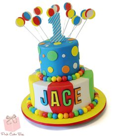 Jace celebrated his first birthday with this two tier colorful ball themed birthday cake! Happy First Birthday Jace! Boys First Birthday Cake, Ball Birthday Parties, Themed Birthday Cakes, Themed Cakes, Birthday Ideas, Beach Ball Cake, Pink Cake Box, Cakes For Boys, Cake Kids
