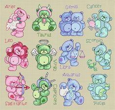 Maria Diaz Designs: Teddy Birth Signs (Cross-stitch chart)