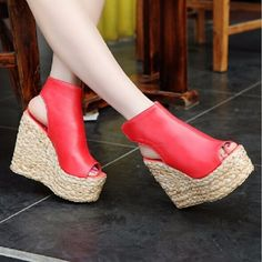 27.13$  Watch here - http://aizfi.worlditems.win/all/product.php?id=32574904647 - Fashion 2016 High Wedges Gladiator Sandals Platform Knitted Women Wedges Shoes Female Open Toe High Flip Flops EU Size 43