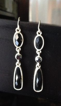 Silver tone metal with black simulated stones with by BellaFemmes