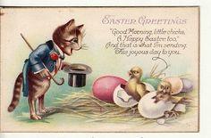 Fantasy Easter~Dressed Cat~Top Hat~Cane~Blue Coat~Chicks~Eggs~Stecher 1030 A Vintage Cat, Vintage Easter, Easter Cats, Happy Easter, Holiday Postcards, Vintage Postcards, Cat Cards, Printable Cards, Image Printable
