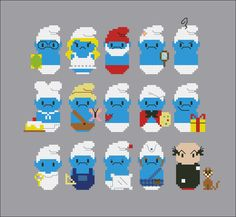 Featuring: Brainy Smurfette Papa Smurf Vanity Smurf Groucy Smurf Baker/Greedy Smurf Natural Smurf Hefty Smurf Painter Smurf Jockey Smurf Baby Smurf Handy Smurf Lazy Smurf Gutsy Smurf Gargamel and his cat Azrael Mini Cross Stitch, Beaded Cross Stitch, Cross Stitch Embroidery, Cross Stitch Patterns, Pearler Bead Patterns, Perler Patterns, Hama Beads, Stitch Character, 8bit Art