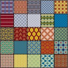 Geometry No. 3 cross stitch pattern PDF 5x5 repeating patterns
