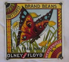 ANDE ROONEY BUTTERFLY BRAND BEANS PORCELAIN ENAMELED SIGN #AndeRooney