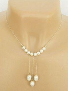 Bridal Necklace - Glass Pearls With Swarovski Crystals Silver Handmade | DoubleSJewelry - Jewelry on ArtFire