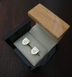 Personalized Family Crest Cufflinks handcrafted in Ireland with your custom family coat of arms shield. Family Shield, Shield Design, Irish Jewelry, Irish Wedding, Family Crest, German Language, Japanese Language, Spanish Language, French Language