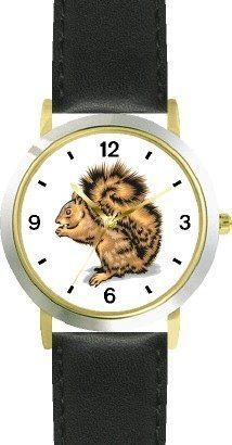 Brown Squirrel Animal - WATCHBUDDY® DELUXE TWO-TONE THEME WATCH - Arabic Numbers - Black Leather Strap-Size-Children's Size-Small ( Boy's Size & Girl's Size ) WatchBuddy. $49.95. Save 38% Off!