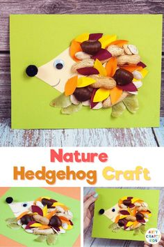 Looking for fall nature crafts for kids to make at home or school? Natures changing colors and textures always inspire our creativity. So if you're looking for a lovely, easy fall craft to help little ones welcome the changing season, this nature hedgehog craft is for you. Get printable craft templates for these nature hedgehog crafts for kids here! Woodland Animal Crafts for Kids | Fall Crafts for Kids Autumn Crafts for Kids Ideas #NatureCrafts Easy Fall Crafts, Easy Arts And Crafts, Craft Projects For Kids, Crafts For Kids To Make, Arts And Crafts Projects, Craft Activities For Kids, Animal Activities, Therapy Activities, Kids Crafts