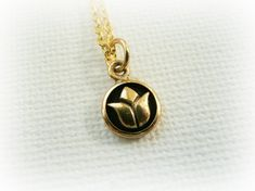 Tiny Gold Lotus Necklace  tiny lotus pendant on by FoxInTheBox