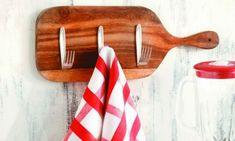 Recycling Ideas wooden cutting board forks hooks