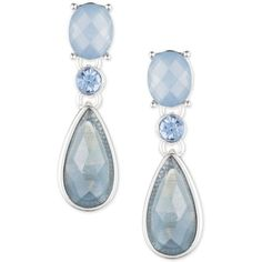 Anne Klein Silver-Tone Blue Stone and Crystal Drop Earrings ($20) ❤ liked on…