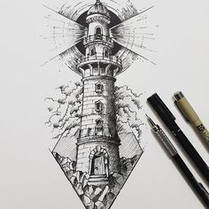 Gesiel Machado on In Pencil Art Drawings, Art Drawings Sketches, Tattoo Sketches, Tattoo Drawings, Drawing With Pen, Drawing Ideas, Nautica Tattoo, Lighthouse Drawing, Lighthouse Art