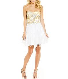 Coya Collection Strapless Embellished Embroidered Bodice Party Dress