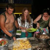 The buffet the night of the pig roast was exquisite, fancy dresses and all. (Lake Malawi)