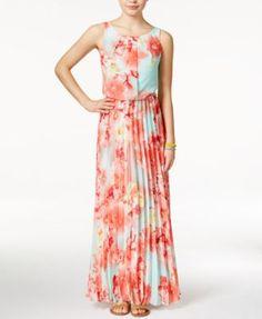 B Darlin Juniors' Floral-Print Chiffon Pleated Maxi Dress | macys.com