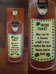 Vintage Irish Toast Wooden Plaque Bottle Opener- Irish Humor- Wall Hanging- Novelty Sign by JenuineCollection on Etsy