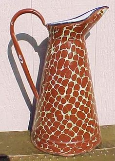 RARE Antique French Graniteware Enamelware Body Pitcher Brown Green Dots C 1900