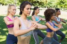 Group of young sporty women exercising together in park ...  20s, Multiethnic Group, activity, attractive, beautiful, caucasian, crouching, dedication, determination, exercise, exercising, female, fit, fitness, free time, friends, friendship, group, hands clasped, health, healthy, leisure, lifestyle, looking away, mixed-race, outdoors, park, parkland, physical, spare time, sportswear, sporty, standing, together, woman, work out, young adult