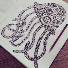Zentangle steampunk octopus doodle