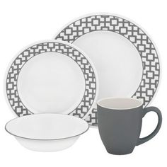 Target - Corelle® Impressions™ Vitrelle and Stoneware16pc Dinnerware Set Urban Grid Gray and White