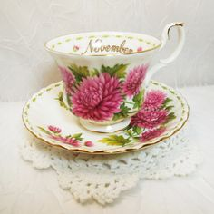 Royal Albert Teacup Saucer, Flower of the Month Series, November... (€19) ❤ liked on Polyvore featuring vintage teacups, royal albert cup, vintage cups, vintage tea cups and vintage bone china