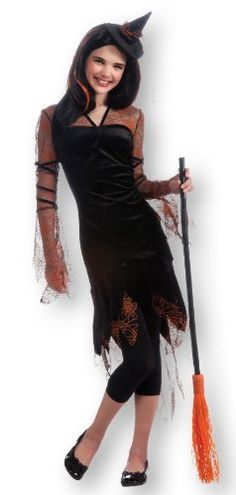 Rubies Costume Orange Spider Witch Dress and HatTeen BlackOrange Medium *** Click image for more details.
