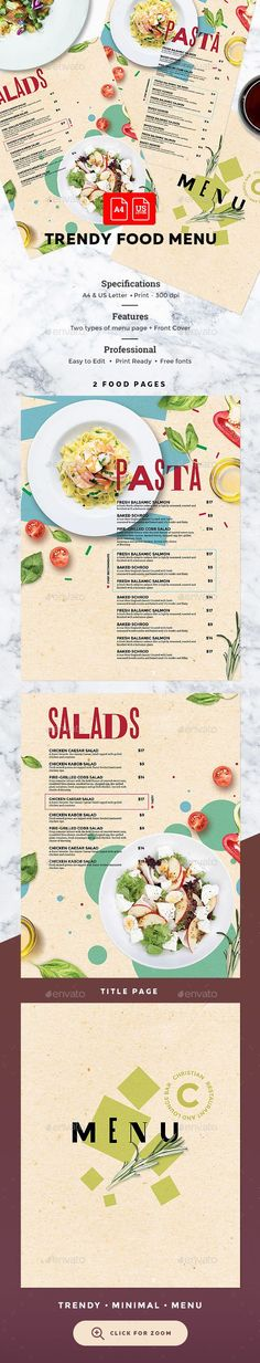 Food Menu File info: Restaurant Food Menu Template Size: and US Letter with bleed Mode: CMYK Files included: 6 PSD Editable Files Dish Images – not included. You can paste any other images on menu page. Menue Design, Food Menu Design, Restaurant Menu Design, Restaurant Branding, Hotel Menu, Restaurant Food, Mexican Menu, Menu Layout, Menu Flyer