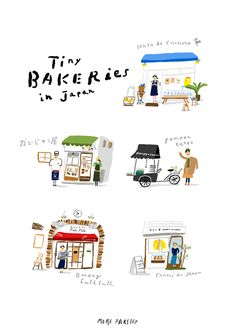 illustration by moreparsley Japan Illustration, Building Illustration, Watercolor Architecture, Japan Architecture, School Architecture, Minimal Drawings, Japan Painting, House Drawing, Illustrations And Posters