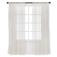 • Gauzy polyester<br>• Rod pocket<br>• Fold-over trim<br>• Sturdy construction<br><br>An easy fit with most window treatments, Sheer Curtain Panels from Room Essentials let the light in while still providing a modicum of privacy. Layer them on top of each other for sheer curtains with an ethereal quality.