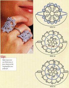 Crochet ring with diagram Crochet Ring Patterns, Crochet Bolero Pattern, Crochet Rings, Crochet Earrings Pattern, Tatting Patterns, Crochet Diagram, Crochet Chart, Love Crochet, Crochet Motif