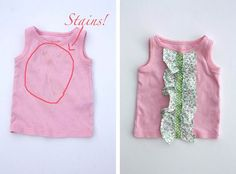 Brilliant on three counts: covers stains, shows of small amounts off great fabric, avoids sewing the shirt itself.