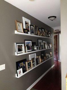 hallway with photo ledges DIY picture ledges ten dollar 10 ledges valspar seine decorating a long hallway Photo Shelf, Picture Shelves, Picture Frames, Picture Walls, Photo Walls, Picture Ideas, Artsy Picture, Picture Gifts, Hallway Decorating