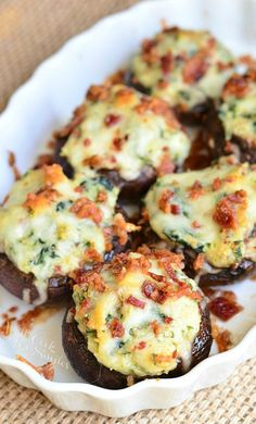 Bacon Spinach and Four Cheese Stuffed Mushrooms | from willcookforsmiles.com