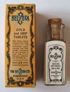 Original Antique QUACK MEDICINE bottle BELZORA Cold & Grip Tablets Minneapolis, w/label, contents, corked, in box. 100 plus years old.