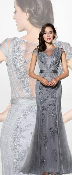 Graceful Tulle Jewel Neckline Sheath Evening Dresses With Beadings