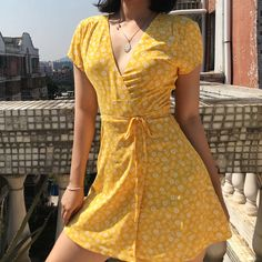 One-piece wrap A-line skirt floral dress · FE CLOTHING · Online Store Powered by Storenvy Floral Dress Outfits, Girly Outfits, Pretty Outfits, Pretty Dresses, Cool Outfits, Summer Outfits, Casual Outfits, Wrap Dress Outfit, Floral Skirts
