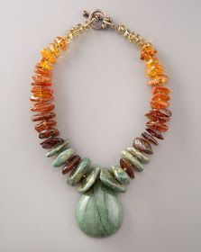 Beaded Jewelry Necklaces have become chunkier, crazier recently, featuring a mix of semi-precious stone beads, with or without metal accents. Chunky Jewelry, Amber Jewelry, Gemstone Jewelry, Beaded Jewelry, Jewelry Necklaces, Chunky Necklaces, Amber Beads, Jewelry Crafts, Jewelry Art