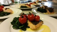 On a roasted salmon & vine tomatoes wedding lunch