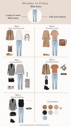 5 ways of styling mom jeans basic jeans for fall 2018 fall outfits for women fall fashion trend items work outfits chic outfits casual outfits fallfashion fallstyle falloutfits capsulewardrobe workoutfits ootd jeans denim Capsule Outfits, Fashion Capsule, Mode Outfits, 20s Outfits, Summer Outfits Women 20s, Woman Outfits, Fall Fashion Trends, Autumn Fashion, Fashion Ideas