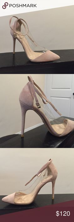 RAYE Heels Pointy toe heels. The strap wraps around the ankle once before it ties. It's a mix of fabric and clear plastic. 4inch heels. Brand new, but has some slight imperfections Raye Shoes Heels