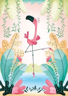 Flamingo Illustration, Pattern Illustration, Cute Wallpapers, Wallpaper Backgrounds, Iphone Wallpaper, Flamingo Art, Summer Wallpaper, Pattern Wallpaper, Cute Drawings