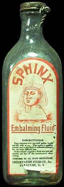 Embalming fluid bottle