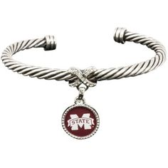 Mississippi State Bulldogs Ladies Antiqued Silver Twisted Cable Bracelet@Fanatics #FanaticsWishList