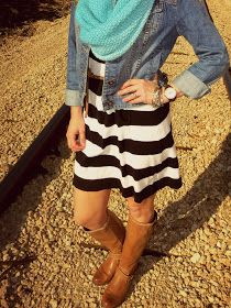 Love it!, black and white stripe w/ denim jacket and Tiffany blue scarf and love the brown boots(: