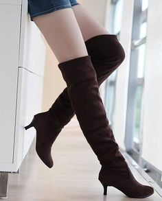 รองเท้าบูทยาวหนังกลับส้นสูงมีไซส์ใหญ่แฟชั่นเกาหลีRB2264