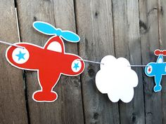 Airplane Party Garland, Airplane Birthday Garland, Airplane Baby Shower, Airplane Banner, Airplane Photo Prop by CraftyCue on Etsy